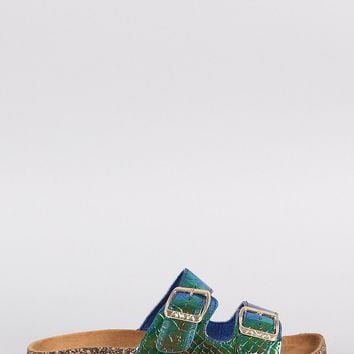 Holographic Snake Open Toe Buckled Cork Footbed Slide Sandal
