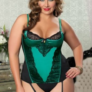 Green Plus Size Shiny Stretch Satin Lace Bustier Intimates Set @ Amiclubwear Intimates Clothing online store:Lingerie,Corset,Bustier,Women's Intimates,Sexy Intimate,Corset Intimates,intimates underwear,sheer intimates,silk intimates,intimates bras,holiday