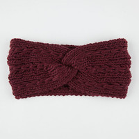 Twist Knit Headwrap Burgundy One Size For Women 26394132001