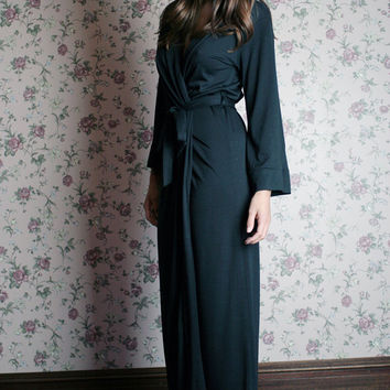 merino wool robe for women in full length - made to order