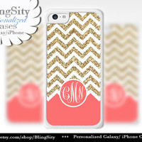 Coral Gold Sparkle Monogram iPhone 5C case 5 iPhone 4 Case iPhone 5S Ipod 4 5 Case White Chevron Zig Zag Personalized *NOT actual Glitter