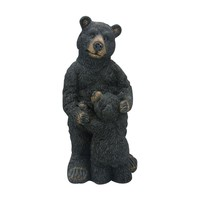 Black Bear with Baby Black Bear Garden Statue