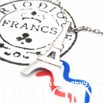 Eiffel Tower Pendant Paris France Travel Necklace in Silver