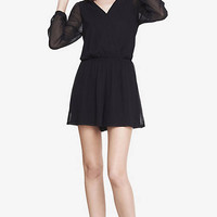 Black Long Sleeve Surplice Romper from EXPRESS