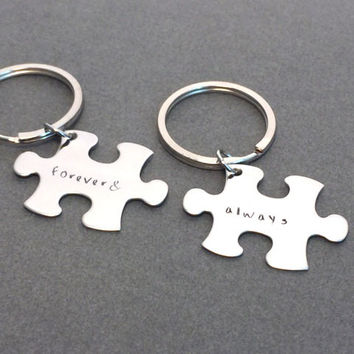 Always Forever Keychains, Puzzle piece Couples Keychains