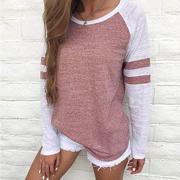 Autumn Women Striped Splicing Baseball T-Shirt 2018 Fashion O Neck Long Sleeve Top Tee Female All Matched Sleeve T Shirt S-4XL