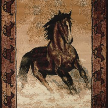United Weaver Legends Stallion Border Area Rug