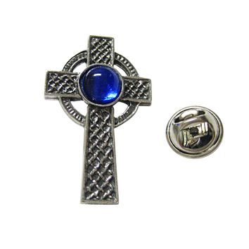 Textured Large Celtic Cross with Blue Center Lapel Pin