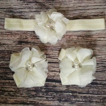 Ivory Chiffon Headband and Barefoot Sandal Set