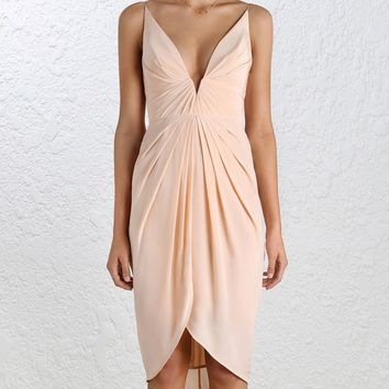 Silk V Tuck Dress