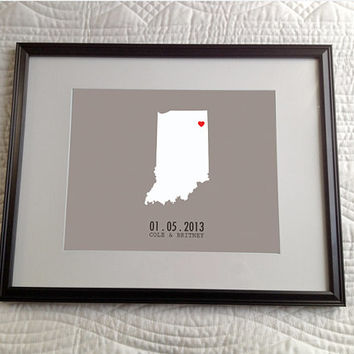 Map Outline of Home State or Country w/ hearts & dotted line Personalized Couples Gift Custom Wedding Present Engaged or Anniversary Gift