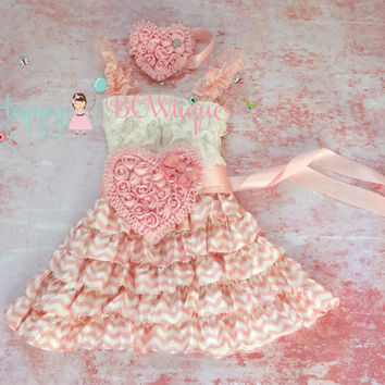 Pink Heart Chevron Lace Dress, Valentines dress, Pink Dress,baby dress,Birthday outfit,girls dress,wedding,baby girls dress,Valentines