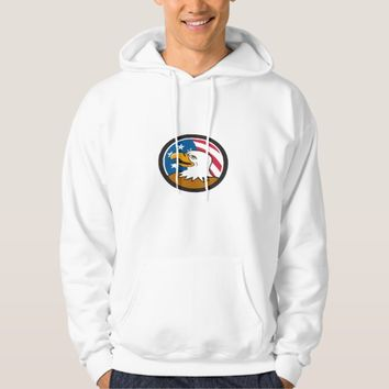 Bald Eagle Head Smiling USA Flag Circle Cartoon Hoodie