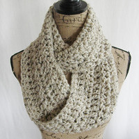 Ready To Ship Oatmeal Tweed Black Brown Tan Infinity Crochet Scarf Cowl Loop Circle Accessory