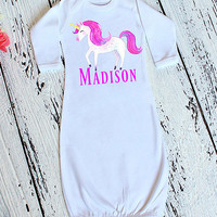 White & Pink Personalized Unicorn Gown - Infant