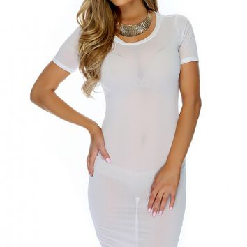 Sexy White Sheer Short Sleeve Knee Length Casual Dress
