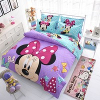 Disney Mickey Mouse Mouse Minnie Winnie Duvet Cover Set 3 or 4 Pieces Twin Single Size Bedding Set  for Children Bedroom Decor