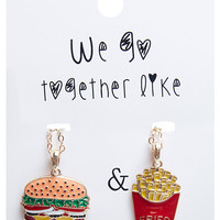 Burger & Fries Bestie Necklace Set | Wet Seal