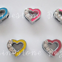 8mm Rhinestone Blue Heart Slide Charm