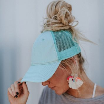 Messy Bun Baseball Cap - Mint
