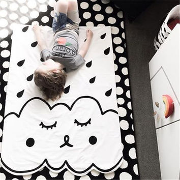 Summer Baby Quilts Cotton Cartoon Blanket Soft White Black Baby Carriage Crib Infant Bedding Newborn  Baby Bedding Set Quilts