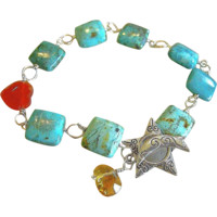 Turquoise links bracelet, Rustic, Agate heart Citrine charms, Silver Camp Sundance bracelet, urban cowgirl bracelet