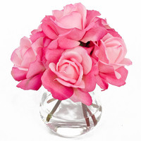 Real Touch Artificial Rose Arrangement with Faux Pink Roses Silk Flowers in Round Glass Vase for Home Decor and Houseware Flower