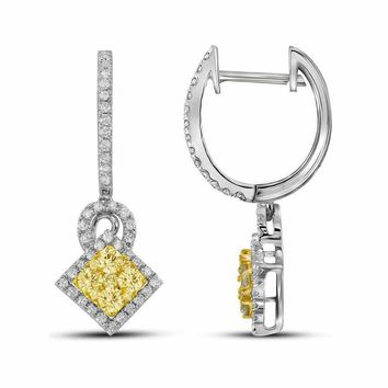 14kt White Gold Women's Round Yellow Diamond Diagonal Square Dangle Cluster Earrings 1.00 Cttw - FREE Shipping (USA/CAN)