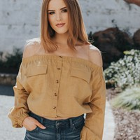 Roxie Off The Shoulder Top, Mustard