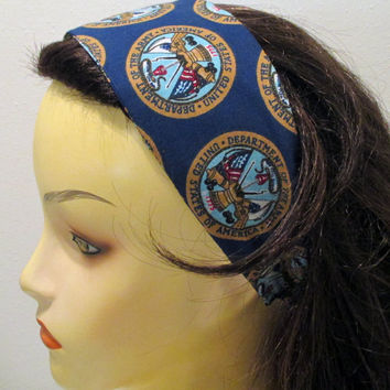 Reversible Wide Fabric Headband Army Headband Military Headband Army Brat Army Wife