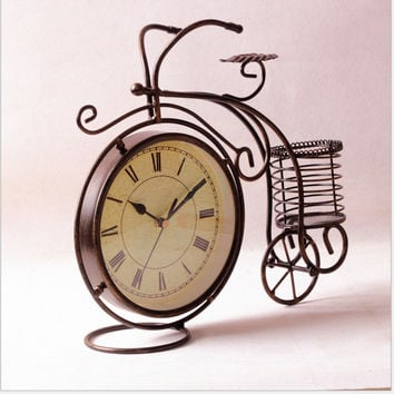 Stylish Creative Iron Bicyclex Quartz Quiet Living Room Clock [6282680582]