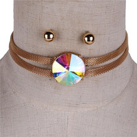 """12"""" mesh 1"""" crystal multi layered choker necklace .25"""" earrings"""