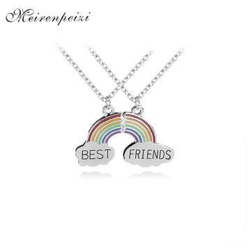 rainbow Stitching BFF Necklaces girls Best Friends forever For 2 Broken rainbow bridge charm Necklace flower friendship birthday