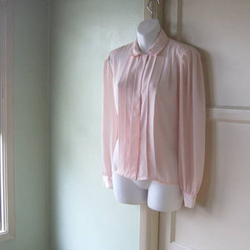 Silky Aspirin Pink Pleated Blouse - Medium-Large 1980s Vintage Pink Tuck Lady Shirt; Marlis/Elle Designs - Pink '80s Career Blouse
