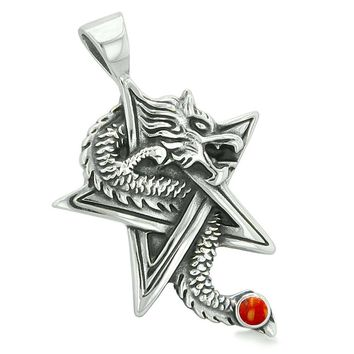 Courage Dragon Magical Protection Powers Star Pentacle Amulet Red Jasper Pendant Leather Necklace