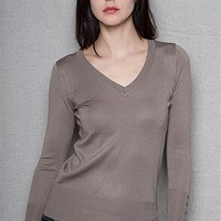 Ambiance Apparel Everyday V Neck Button Detailed Sweater  - Mocha