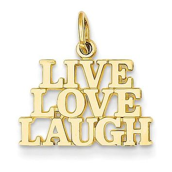 14K Yellow Gold Live Love Laugh Motto Necklace Charm