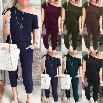US Women's Off Shoulder Playsuit Bodycon Short Sleeve Jumpsuit Romper Trousers