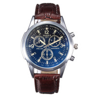 Men's Leather Military Sport Wrist Watch