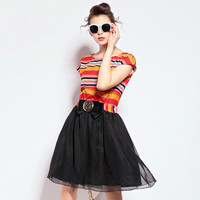 Multicolor Striped Paneled Dress