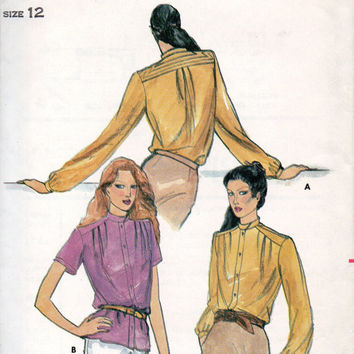 Butterick 3298 Sewing Pattern High Neck Button Front Blouse Shoulder Yoke Band Collar Business Dress Shirt Misses Top Size 12 Bust 34
