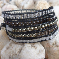 Chan luu inspired beaded leather wrap bracelet .Mixed stone five wrap bracelet on black leather.Unisex.