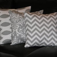 "Pillows Decorative Pillows gray TRIO Ikat, damask, chevron 16 x 16 inch Throw Pillow Covers 16"" storm grey on white Zig Zag"