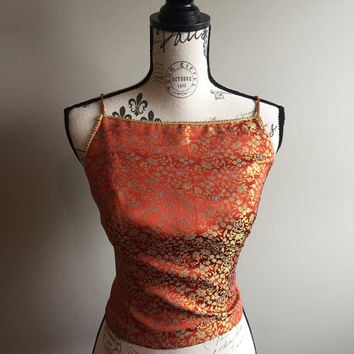 Gorgeous Vintage 80s Orange Brocade Halter Top Belly Dance Size 4 Edwardian Renaissance Festival Gold Trim Dressy Summer Boho Luxe Hippie