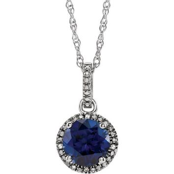"Sterling Silver Created Blue Sapphire & .01 CTW Diamond 18"" Halo-Style Necklace"