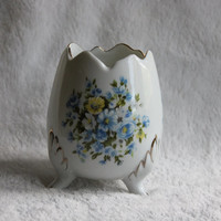 Vintage Porcelain Egg Vase, 3 Footed Blue & Yellow Floral Design, Candle Votive Planter, Made in Japan