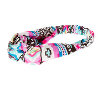 Turquoise and Pink Ibiza Print Knotted Headwrap