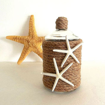 Beach Decor Apothecary Jar or Vase w white Starfish & natural Rope, Nautical Coastal lidded jar, storage organizer, canister, candy dish