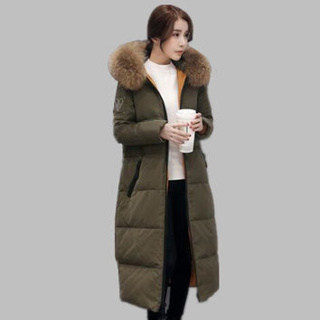 Fashion 2016 New long down coat women winter jacket fur collar hooded parkas down jackets thickening warm women's winter coats