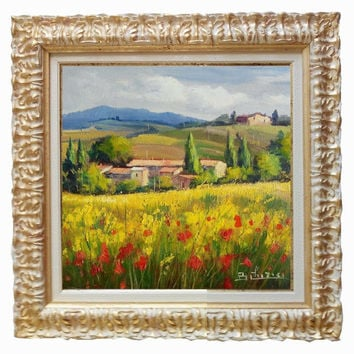 Italian painting Tuscany landscape n 5 of Bruno Chirici original oil Italia Italy Toscana + frame